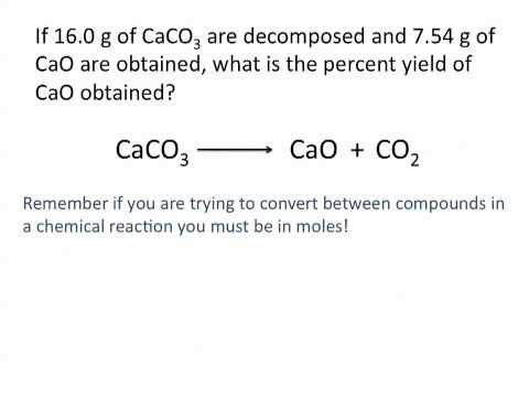 Theoretical, Actual and Percent Yield Problems - Chemistry Tutorial