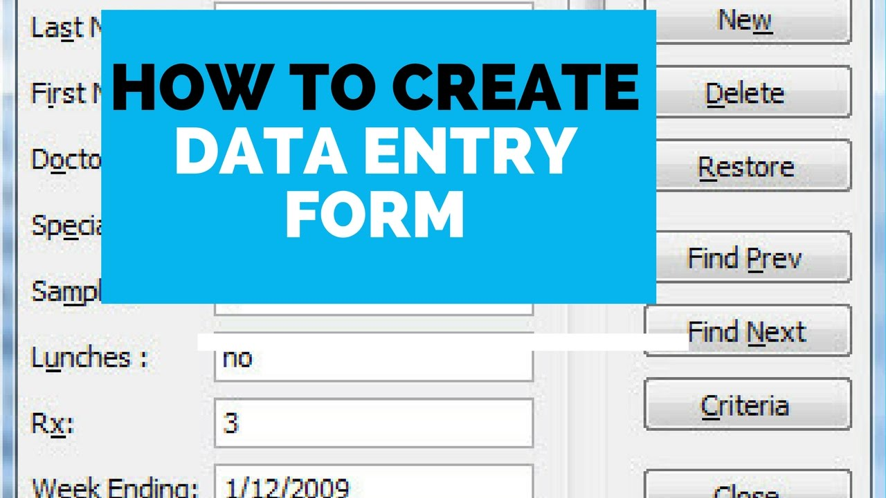 How to create Data entry form in Microsoft Excel - YouTube