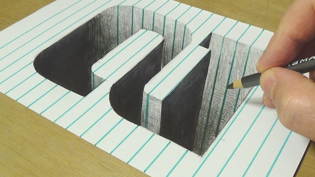 Drawing Number Two Hole in Line Paper - Trick Art Illusion