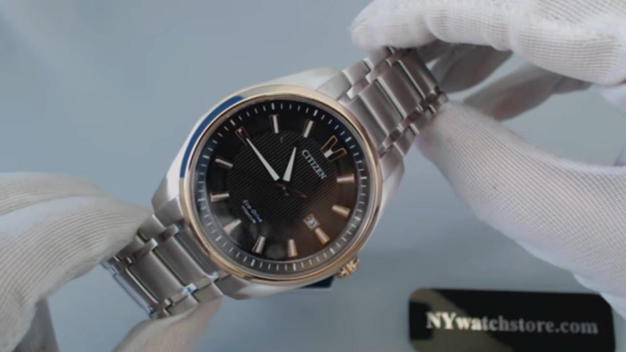 Mens Citizen Eco Drive Titanium Dress Watch AW1244 56E