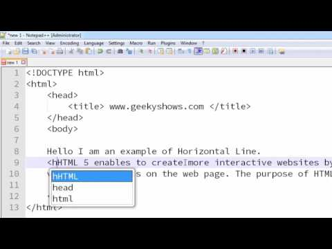 19. Horizontal Rule Or Horizontal Line Using Hr Tag In HTML (Hindi)