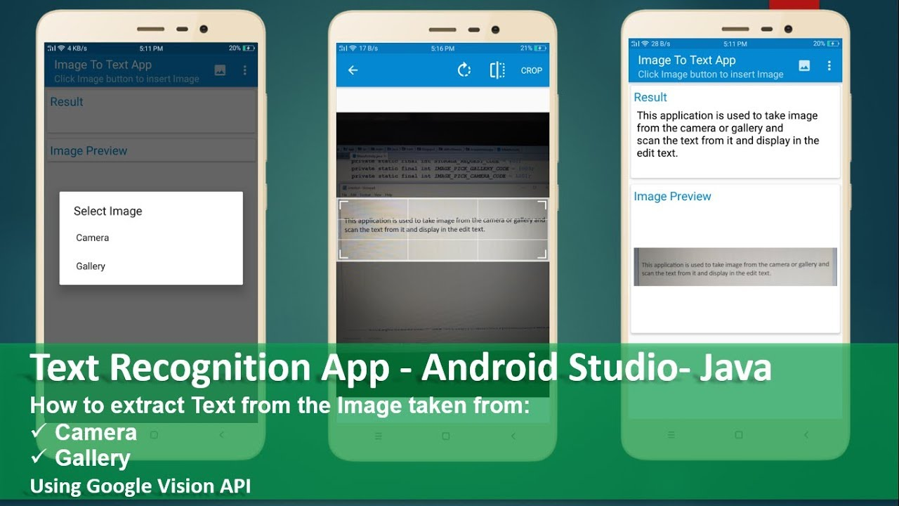 Text Recognition App - Android Studio - Java