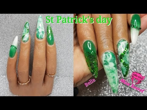 ST PATRICKS DAY ACRYLIC NAILS GREEN GLITTER MARBLE ON POOCHIEZ HAND BELLA   IdleGirl