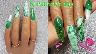 ST PATRICKS DAY ACRYLIC NAILS GREEN GLITTER MARBLE ON POOCHIEZ HAND BELLA | IdleGirl