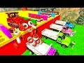 COLOR TIP TRUCKS Wheels Transportation with Superheroes cartoon for kids and babies