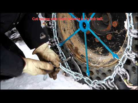 QCC-Skid Steer Square Link Alloy Tire Chain Installation