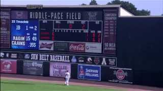UL Lafayette's Stefan Trosclair launches a 12th-inning grand slam in the Sun Belt Championship