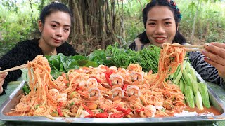 How to make papaya salad with shrimp and vegetable recipe