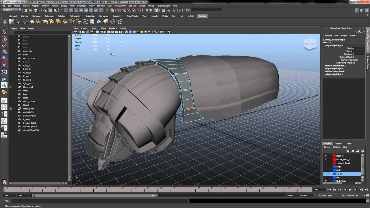 Maya 2013 Modeling 01 SciFi SpaceShip Adding details Wing p 18