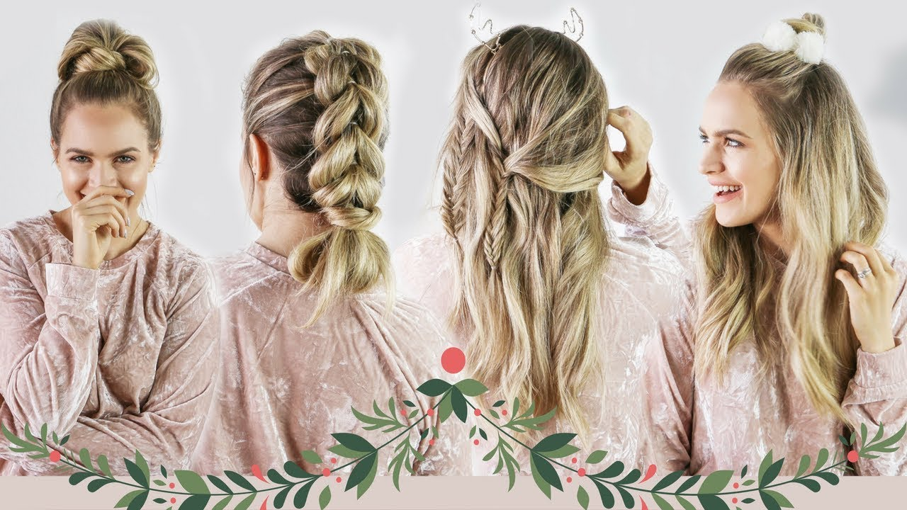Christmas Hairstyles Easy.Christmas Morning Hairstyles Quick And Easy Kayleymelissa