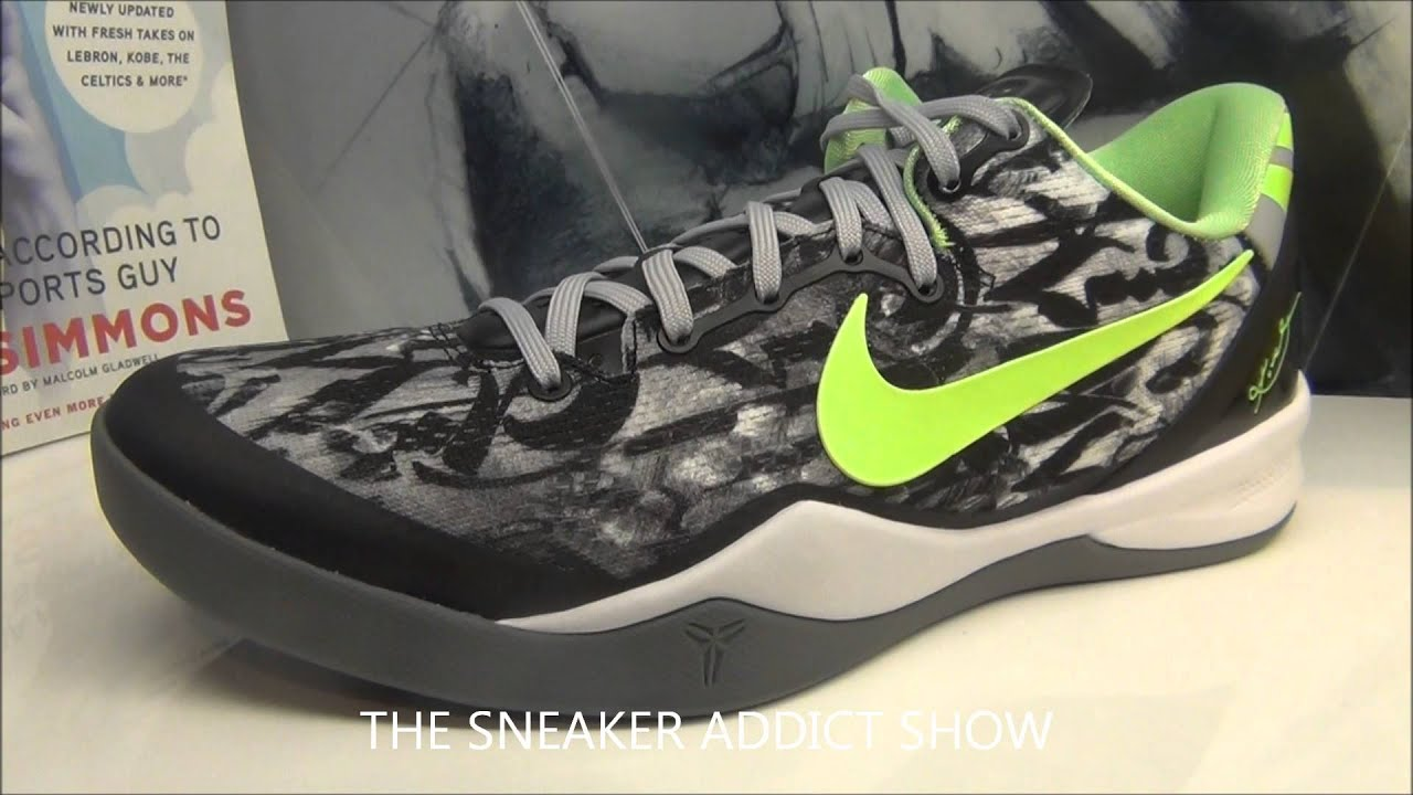 3fe521dbd96b ... white black dark grey flash lime 555035 100 online cheap 7d80e 2db2a   hot nike kobe viii 8 graffiti sneaker review hotornot with djdelz dj delz  youtube ...