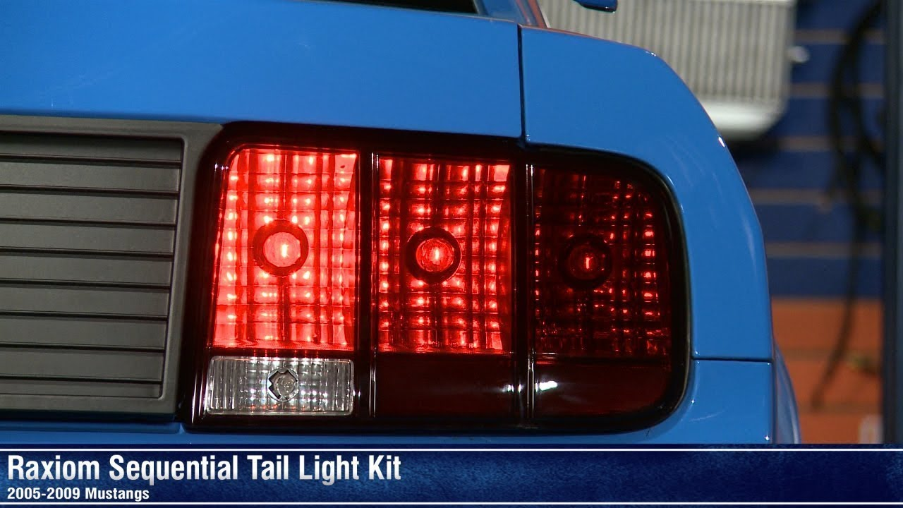 raxiom mustang sequential tail light kit plug and play 11044 05 09 all  [ 1280 x 720 Pixel ]