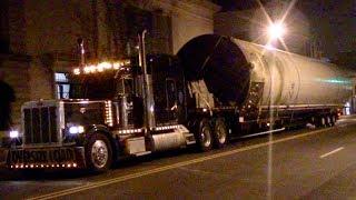 2 Oversize Load Semi Trucks Hauling Up Bloomfield Ave In Montclair NJ 4-20-17