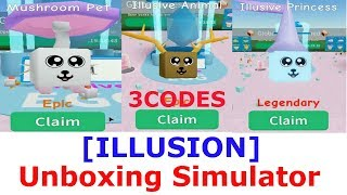 Illusion Island Area and 3 CODES ( coins,gem,potion ) Unboxing Simulator roblox | NEW PET| UPDATE 2.15