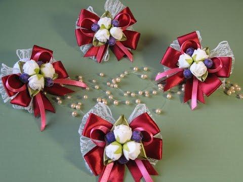 Свадебная Бутоньерка бордового цвета. Ленты, кружево и цветы из фоамирана.