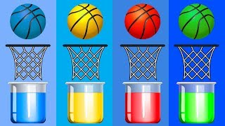 Paint Bucket Bathing Colorful Basketball Balls Finger Family Learning Colors for Kids