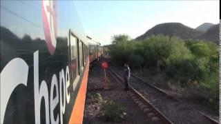 Tren Chepe, cambiando de carril, San Blas, Sinaloa, México 26/Apr/2014メキシコ鉄道シナロア州サン・ブラス付近ポイント切替
