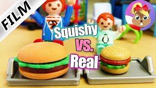 Playmobil Film polski REAL FOOD vs XXL SQUISHY FOOD! EMMA i JULIAN zawody w jedzeniu | Wróblewscy