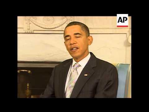 Anders Fogh Rasmussen, chief of the North Atlantic Treaty Organization, and President Barack Obama m