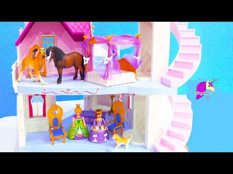 Schleich Pony + Foal Sneak Into Princess Castle - Playmobil + Horse Toy Video