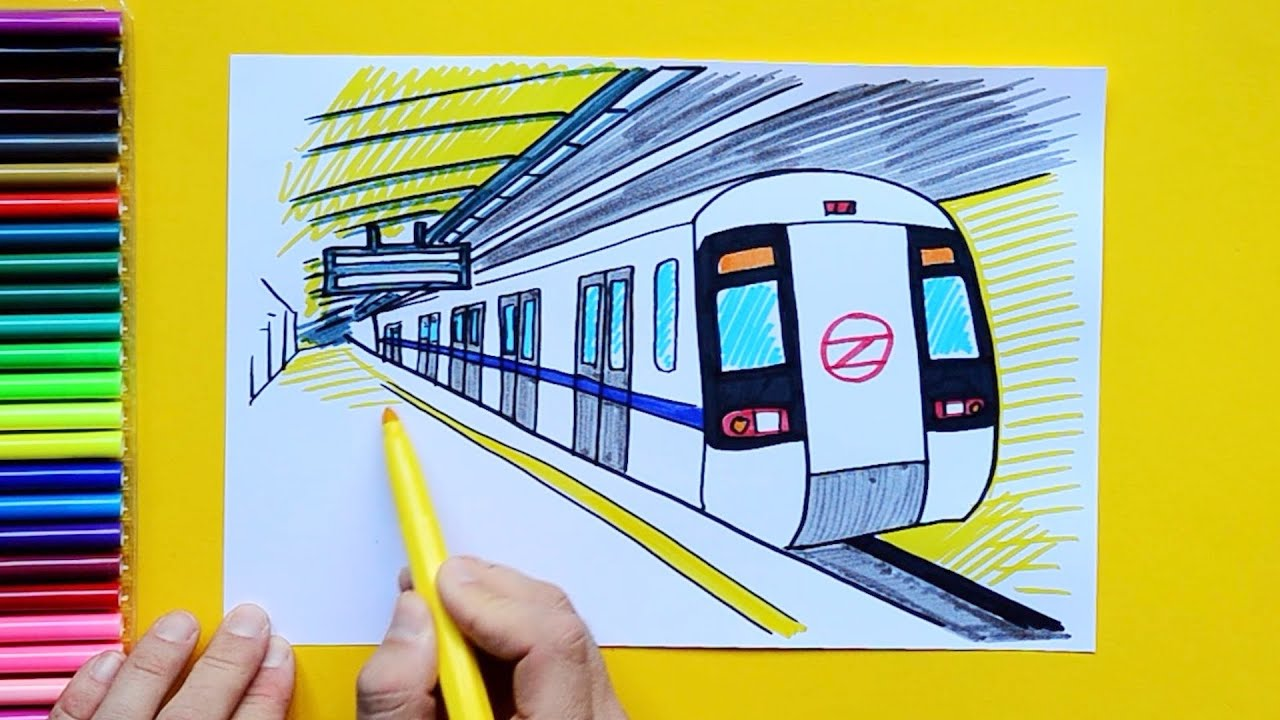Subway Map Coloring Page.How To Draw Delhi Metro Subway Train At Station