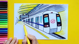How to draw and color a Delhi Metro Subway Train at Station