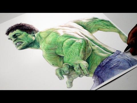 INCREDIBLE HULK Pen Drawing - Marvel - DeMoose Art - 동영상