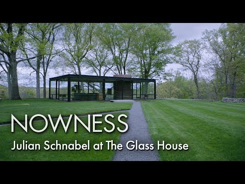 Julian Schnabel at Philip Johnson's Glass House