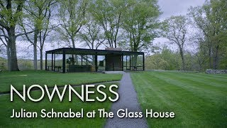 Julian Schnabel at Philip Johnson's Glass House