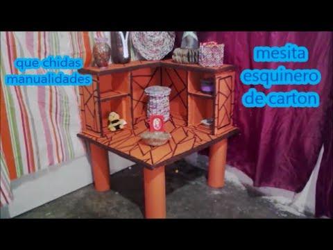 Mesa esquinero de cart n cardboard corner table youtube for Mesa de esquinero