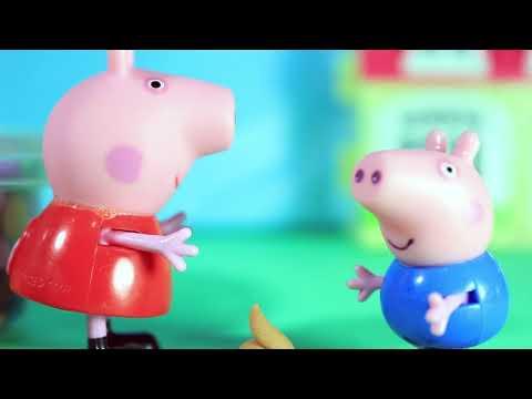 New Episode Pig George e Peppa Pig com dor de barriga na Piscina  Chocolate M&M's  faz cocô no chão