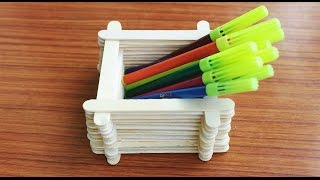 Pen Stand With Ice Cream Sticks In Creative Home Decors Crafts By