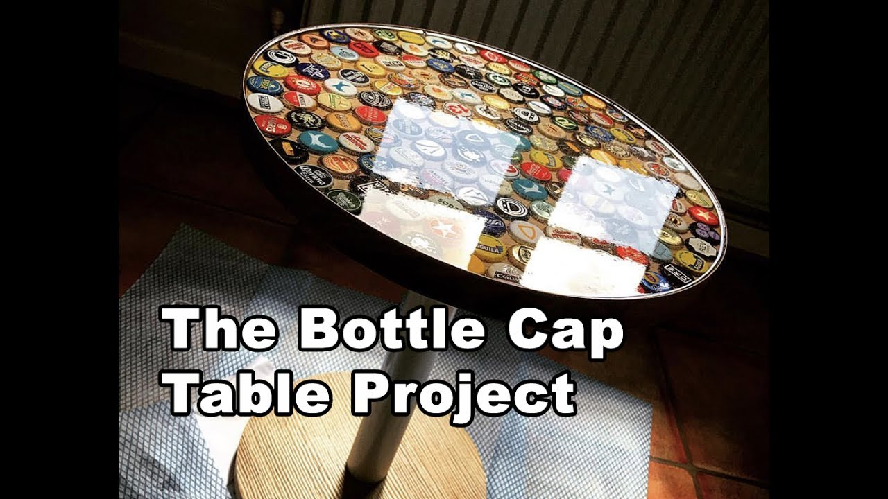 Beer bottle cap table tutorial using bottle caps and epoxy for How to make a table out of bottle caps