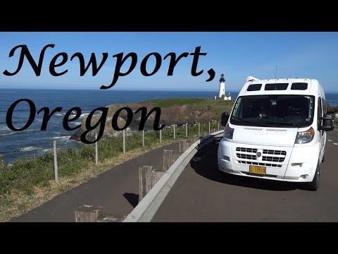 Newport, OR Bayfront, Lighthouse, and Beach. Roadtrek Van Life.