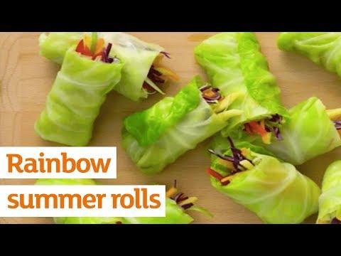 Rainbow summer rolls with satay sauce | Recipe | Sainsbury's