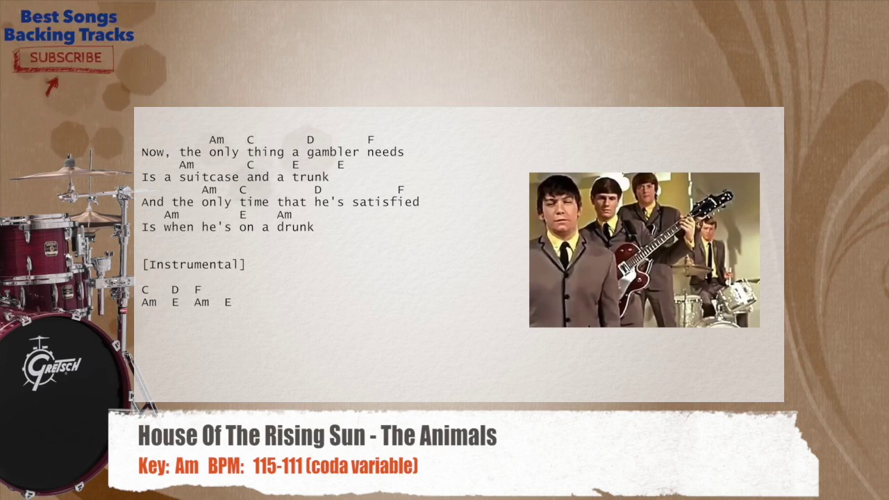 House Of The Rising Sun - The Animals Drums Backing Track ...