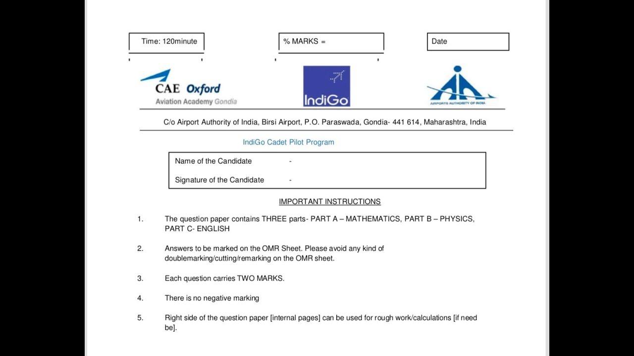 Indigo Cadet Program - Written Test | CAE | FTA |