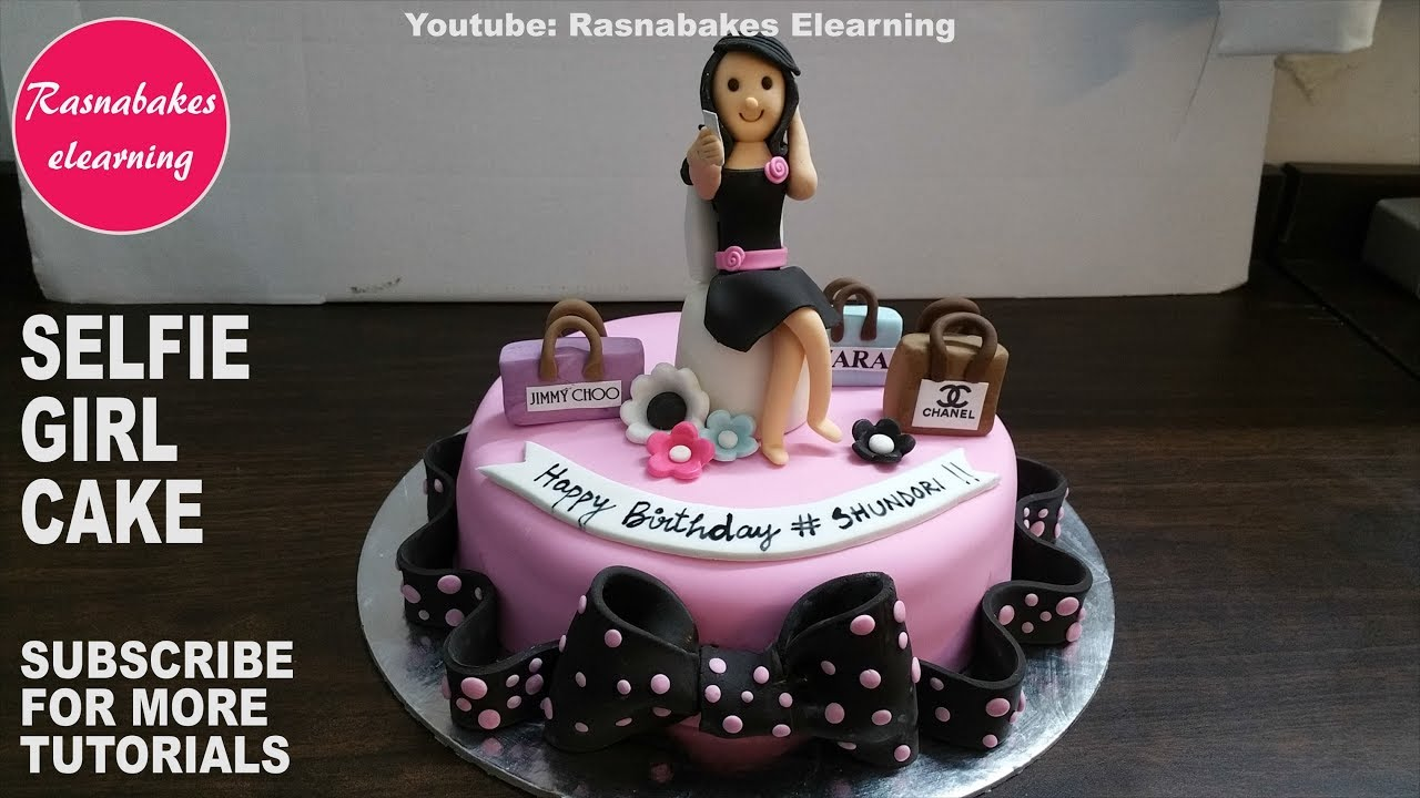how to make sweet happy birthday cake for selfie loving girl:Cute cake  design ideas video