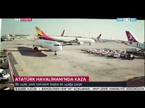 Atatürk Havalimanı'nda bir uçak, park halindeki başka bir uçağa çarptı