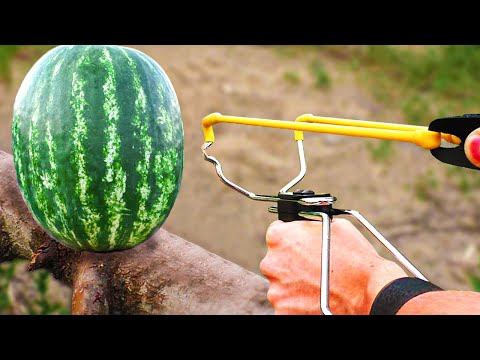 Experiment: Powerful Slingshot vs Watermelon! Will The Watermelon Survive?