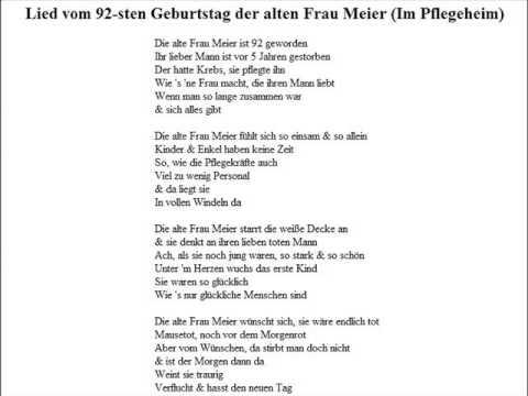 Lied Vom 92 Sten Geburtstag Der Alten Frau Meier Im Pflegeheim