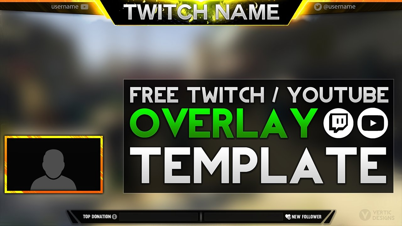 Free Twitch Overlay Template Download.psd - Photoshop Stream Overlay ...