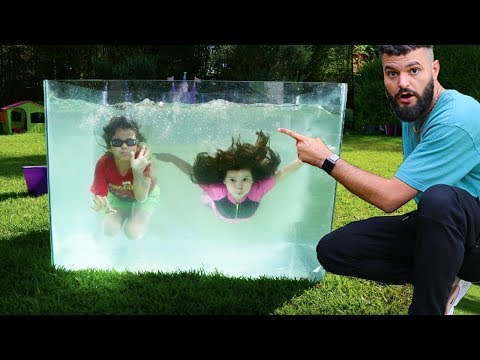 Swimming Inside A Big Aquarium At Home - LES BOYS TV