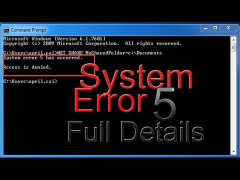 System Error 5:(Windows Hidden Administrator Account)