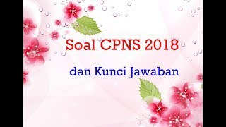 Contoh Soal Cpns 2018 Pdf Dan Kunci Jawaban Icpns