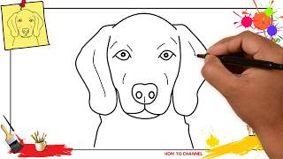 How to draw a dog face (head) 3 EASY & SLOWLY step by step for kids and beginners
