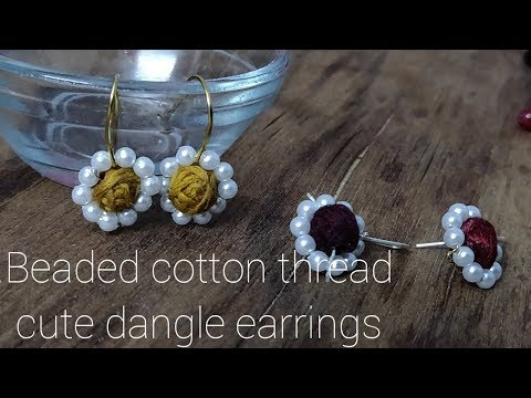 Beaded Dangle earrings with cotton beads || periwinkle TV