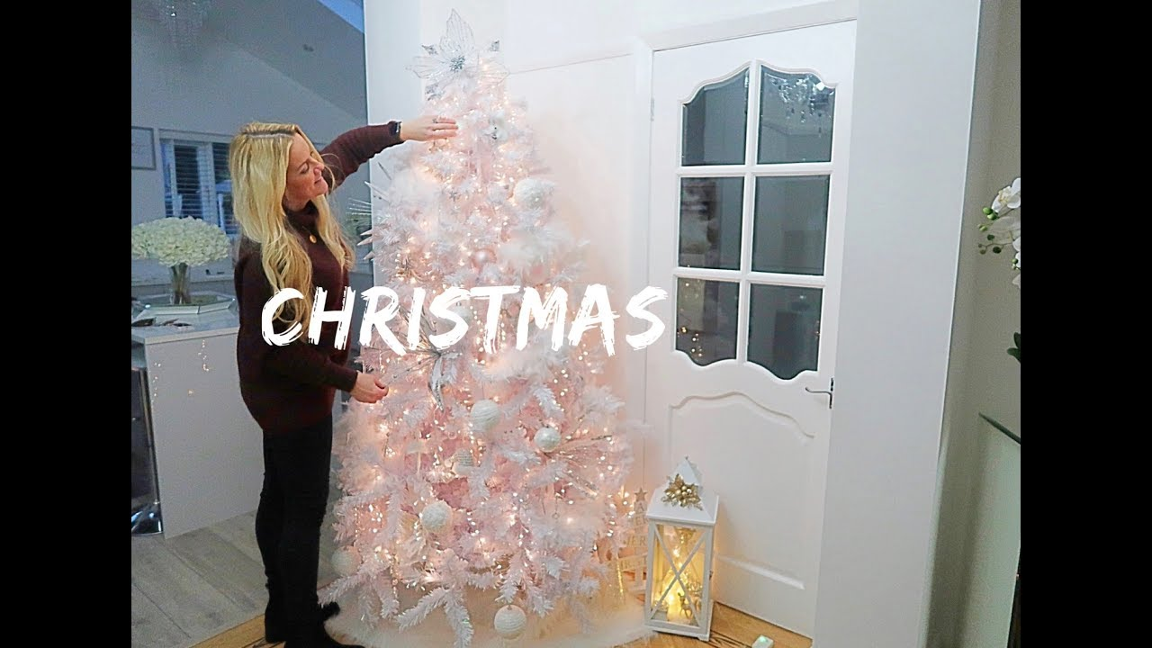 how to decorate a white christmas tree decorate with me