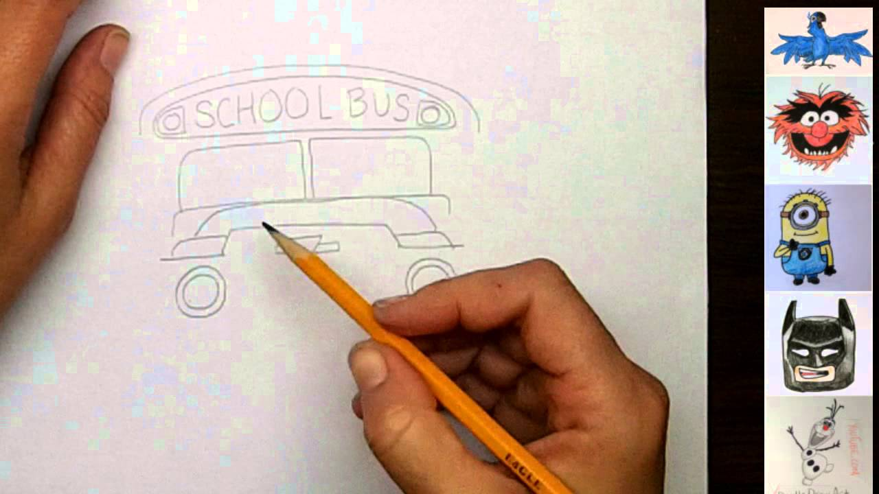 Drawing: How To Draw Cartoon School Bus Step by Step - YouTube