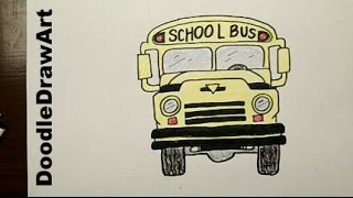 Drawing: How To Draw Cartoon School Bus Step by Step
